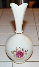 VINTAGE LENOX ROSE VASE WITH  BLUE WREATH ON BOTTOM MADE IN U.S.A.