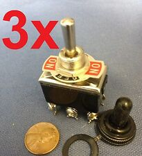 3 Pieces Black Waterproof boot cap DPDT momentary Toggle switch 3x ON/OFF/ON amp