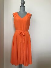 New Ann Taylor size 8 M Orange Coral Salsa Crepe V neck Full Skirt  Dress $138.