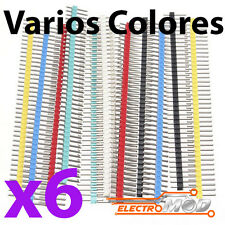 6x Tira 40 pines MACHO Varios Colores simple 40x pines row male soldar Arduino