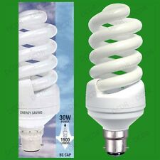 8x 30W (=150W) Daylight 6400K SAD White Light Bulbs Low Energy CFL BC B22 Lamps