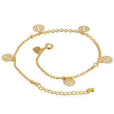 Womens vintage Yellow Gold Filled heart and Circles Pendant Anklets Chain