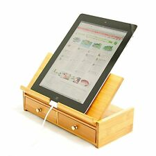 Bamboo Desktop iPad Tablet Stand Mount / Book Holder, Stationery Organiser