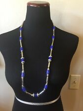 CHICO'S Signed Silver Tone And Blue Long Necklace