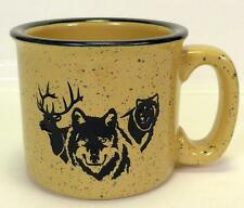Wolves Elk Wolf Stoneware Coffee Cup Mug Tan Beige Speckled Laser Cut Design