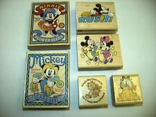 Walt Disney Minnie & Mickey Mouse & Garfield Mounted Wood Rubber Stamps Stamp
