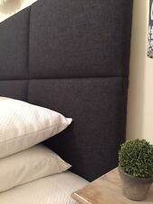 FUN BEDHEADS Super King Size Charcoal Panel Upholstered Bedhead