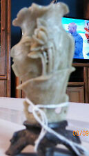 vintage  Hand Carved Chinese Soap Stone Vase on a stand