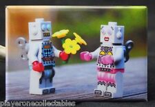 """Robot Love"" - 2"" X 3"" Fridge / Locker Magnet. LEGO MiniFigure"