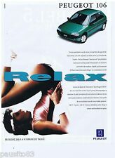 PUBLICITE ADVERTISING 105  1993  PEUGEOT  la 106 XT  RELAX