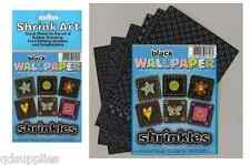 6 BLACK WALLPAPER PLASTIC SHRINKLES SHRINKIES SHRINK ART SHEETS 101MM x 131MM