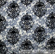 BonEful Fabric FQ Cotton Quilt White Black B&W Gray Skull Skeleton Damask Flower