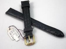CYMA 12mm Black Genuine American Emu Watch Band Vintage Ladies Gold Tone Buckle