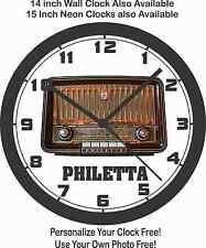 PHILETTA ANTIQUE RADIO WALL CLOCK-RCA, PHILCO, MOTOROLA