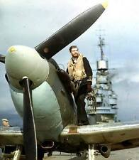 WWII Photo Royal Navy Spitfire HMS Indomitable / 7023