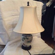 GREAT CONDITION Vintage Oriental Bedside Table Lamp w/ RH Silk Shade - 16""