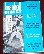 Baseball Digest May 1971 Willie Mays 1971 club rosters