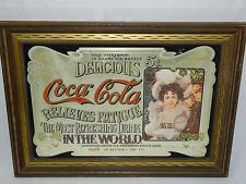 "43""x31"" FRAMED COCA COLA LARGE MIRROR PICTURE IN FRAME SIGN STORE ADVERTISEMENT"