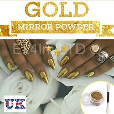 SALE! GOLD MIRROR POWDER CHROME EFFECT Pigment NAILS New Trend Magic Dust UK (P)