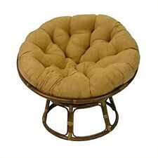"International Caravan  Rattan 42"" Papasan Chair Micro Suede Cushion Cardinal Red"
