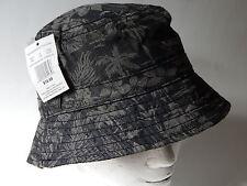 """Hawaiian Print Men's M/L 22"""" Black Gray Sun Beach Hat New"""