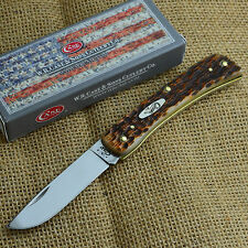 Case XX Sod Buster Jr Amber Jigged Bone Folding Pocket Knife 00245 6137SS