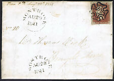 1841 1d Red Black Pl 9 TK Fine MONTROSE MX Too Late etc Cat £1100.00