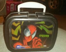 "Spiderman Marvel Thermos Plastic Lunch Box Cooler 9.5"" x 5.5"" x 7.5"" Black"