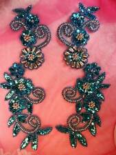 Sequin Appliques Turquoise Beaded Edge Mirror Pair Silver Floral Centers ~ 0183