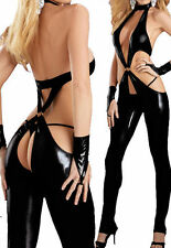 Sexy Lingerie Black Leather Catsuit Dress With Gloves Gothic Fetish Punk Uniform