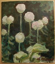 Russian Ukrainian Soviet Oil Painting Impressionism natural flowers flowered bed