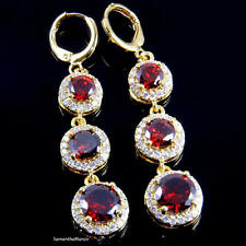 Micro Pave Set Halo Round Ruby Red Cz Long Drop Dangle Hoop Earrings Gold Plated