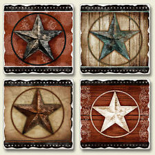 Mixed Absorbent Stone Coasters Set of 4 Rustic Western Tin Barn Star