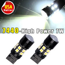 2 X White T20 7W 7440 Optical Projector 12-SMD LED Reverse Backup Lights