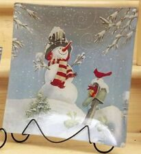 "W6457 7.5"" Snowman Cardinal on Mailbox Plate w/Stand Christmas Decoration Winter"