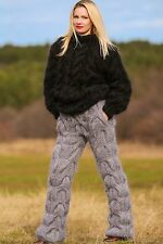 SUPERTANYA Hand knitted fuzzy mohair pants THICK GRAY fuzzy soft leg warmers