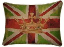 Union Jack Lime Green Flag Design #2 Oblong Woven Tapestry Cushion Cover