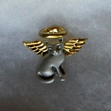 Pewter Cat Angel Pin with Gold Halo & Wings Gift Boxed