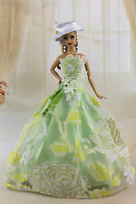 Fashion Princess Party Dress/Wedding Clothes/Gown+Hat For Barbie Doll K-03U