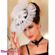 White Victorian Mini Top Hat Burlesque Fascinator Costume Accessories