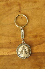 Ancient Greek Themed Keyring Key Chain Spartan Shield 300 Silver Zamac Closed L