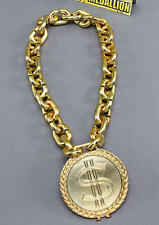 Massive Dollar Sign Medallion Gold Chain Necklace Pimp Gangster Fancy Dress