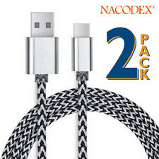 2x Nx USB 3.1 Braided Type-C Cable Data Charging USB-C to USB-A 3FT(1m) - Silve