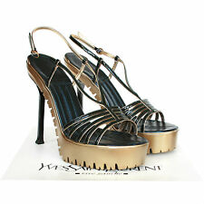 YVES SAINT LAURENT $890 gold commando sole Army 105 sandal heels shoes 40/10 NEW