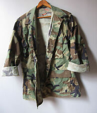 Mens Vintage Camo Jacket Shirt Woodland Camouflage Military Hunting Medium
