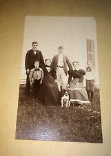 Antique American Outdoor Victorian Family & Pet Dog! Old Animal Cabinet Photo!