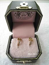 AUTH Juicy Couture Jewelry Pave Golden Bow Huggie Earrings NIB