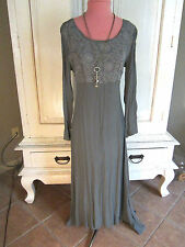 VTG MOSSY INDIA GAUZE EMPIRE RENISSANCE EMBROIDERY FITTED MAXI  FESTIVAL DRESS-S