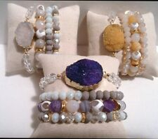 10 WHOLESALE GEMSTONE AGATE CRYSTAL DRUZY BEAD BRACELET STACK SETS JEWELRY BLING