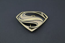 GOLD SUPERMAN BELT BUCKLE TEXTURED METAL MAN OF STEEL DC MOVIE VS